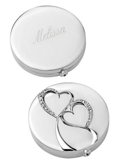 (Personalized Silver Twin Hearts Compact)