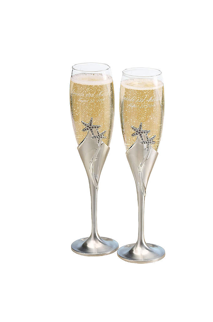 Personalized Starfish Love Toasting Flute Set - Make your first toast as husband and wife
