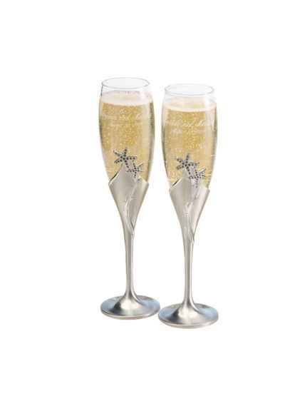 Personalized Starfish Love Toasting Flute Set - Wedding Gifts & Decorations