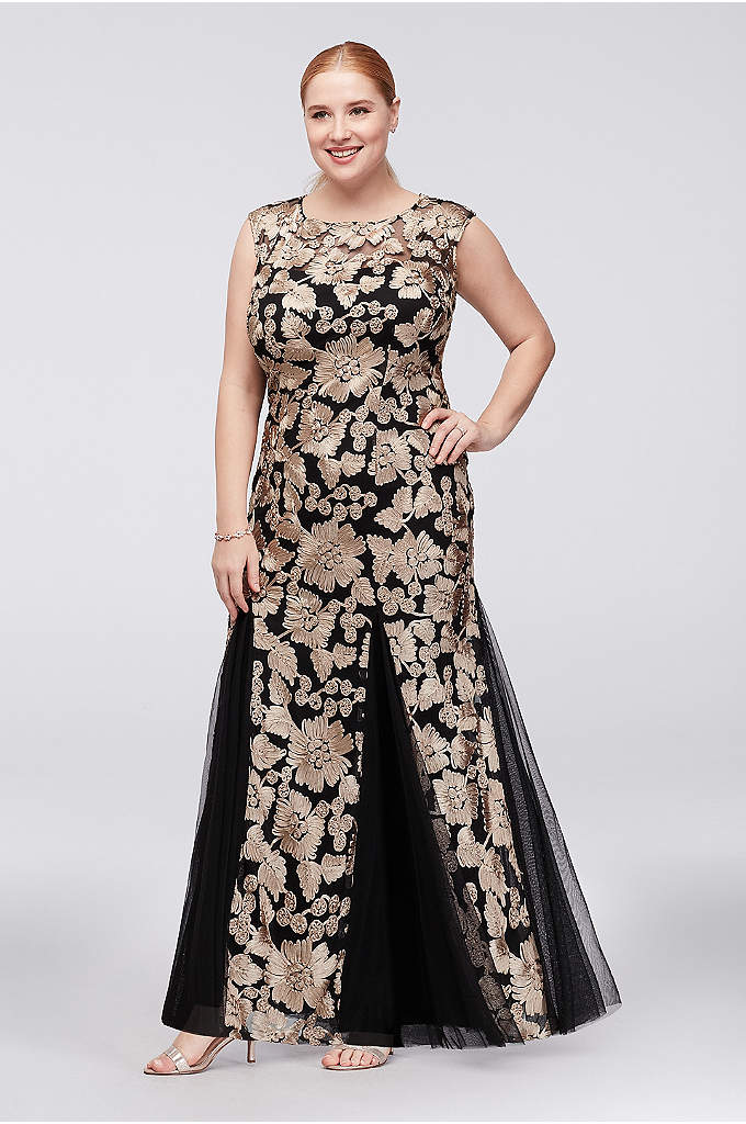 Embroidered Tulle Plus Size Dress with Godets - Topped with illusion cap sleeves, this gorgeous stretch