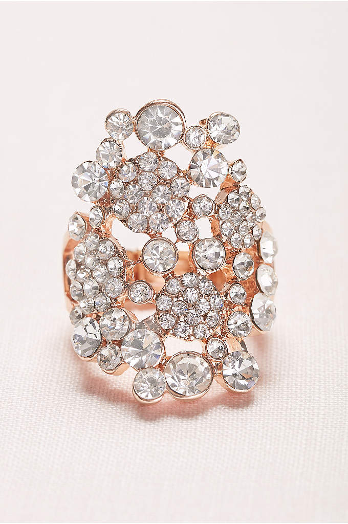 Pave and Crystal Cluster Stretch Ring - Slip on some statement bling with this crystal
