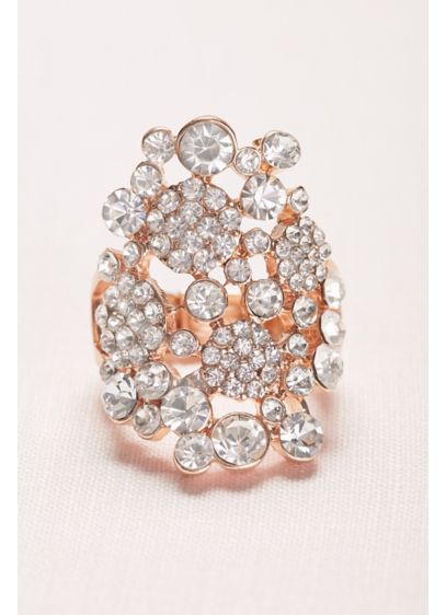 Pave and Crystal Cluster Stretch Ring - Wedding Accessories