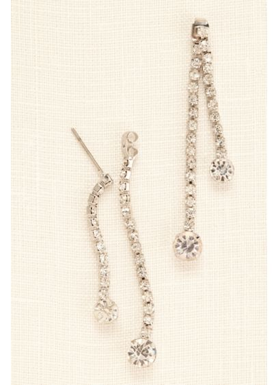 Front and Back Rhinestone Drop Earrings - Wedding Accessories