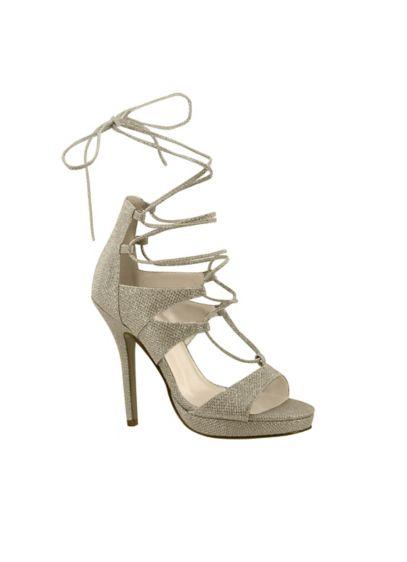 Touch Ups Ivory (Luna Lace-Up Glitter Platform Heels)