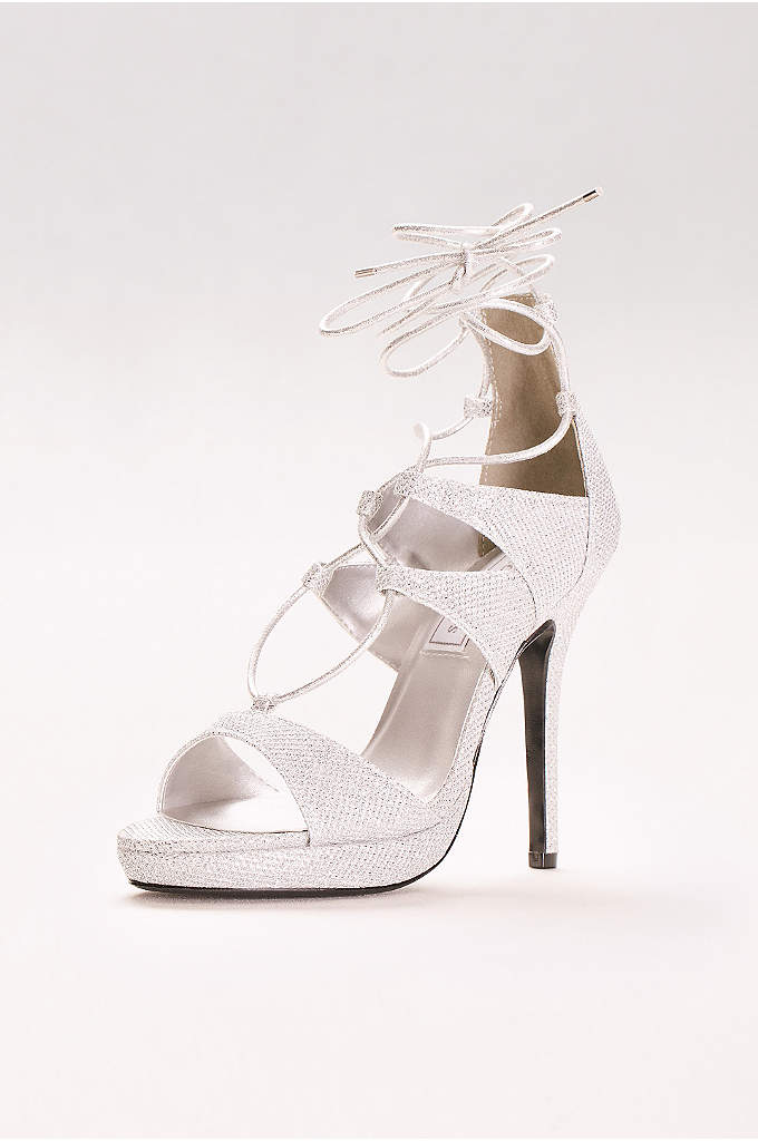 Luna Lace-Up Glitter Platform Heels - On-trend gladiator laces lend some edge to these