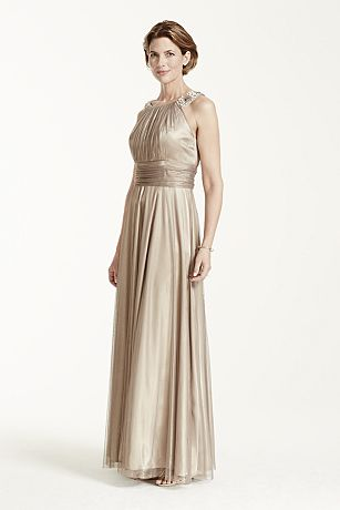 Iridescent Tulle Jewel Neck Gown with Ruched Waist