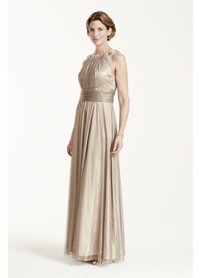 Long Brown Soft & Flowy Cachet Bridesmaid Dress
