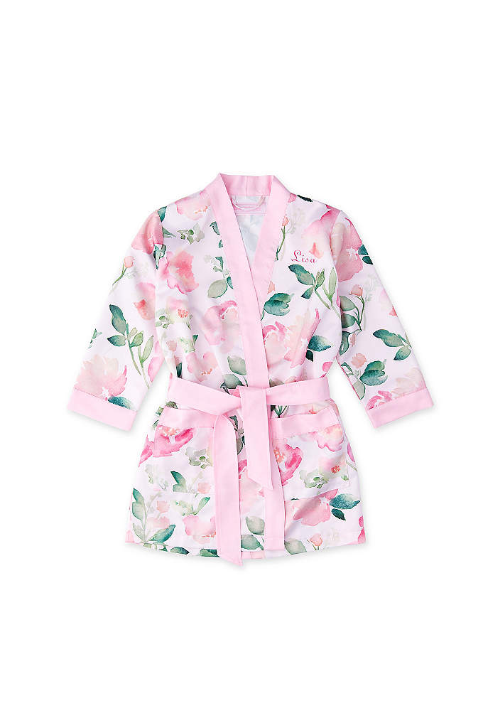 Personalized Pink Floral Flower Girl Kimono Robe - Thank your flower girl with this pink floral