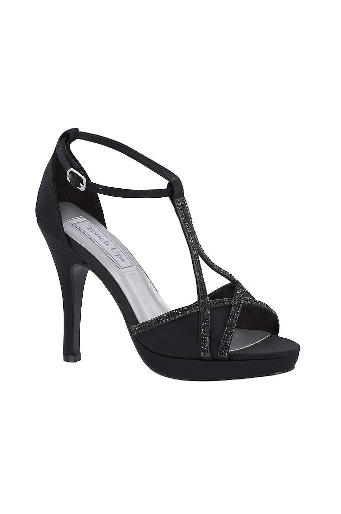 Harlow Shimmer Peep-Toe Heels with Rhinestones - Sophisticated and strappy, these metallic platform heels dress