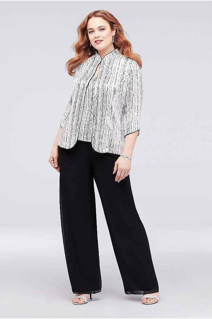 Glitter Stripe Plus Size Pantsuit with Piping - Alternating rows of glitter stripes and wavy stripes
