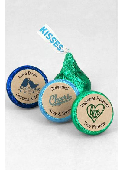 Personalized Kraft Colored Foil Hershey Kisses - Wedding Gifts & Decorations