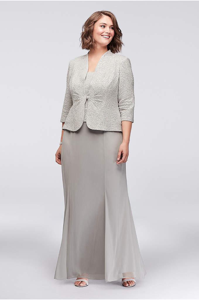 3/4 Sleeve Jacquard Jacket Plus Size Dress - The popover tank on this timeless chiffon plus-size