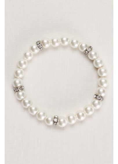 Pearl and Crystal Alternating Bracelet - Wedding Accessories