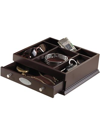 Personalized Indispensible Wooden Valet - Thoughtfully designed and finely crafted, this striking wooden