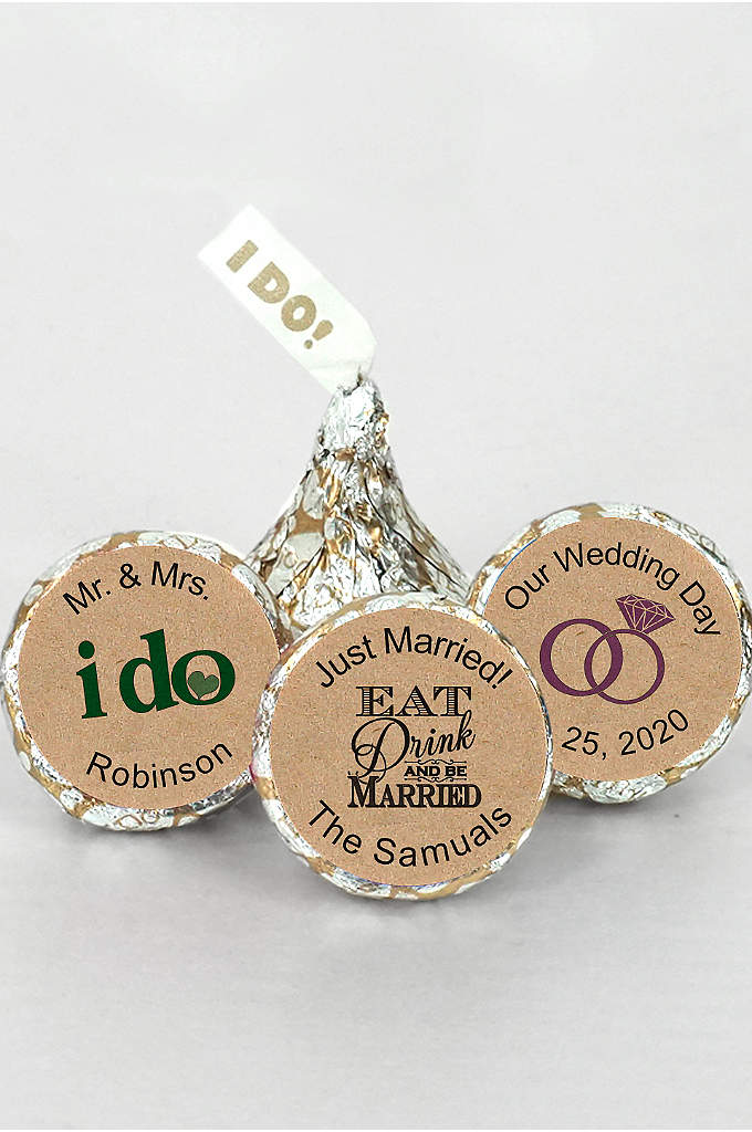 Personalized I DO Kraft Silver and Gold Kisses - Our Personalized