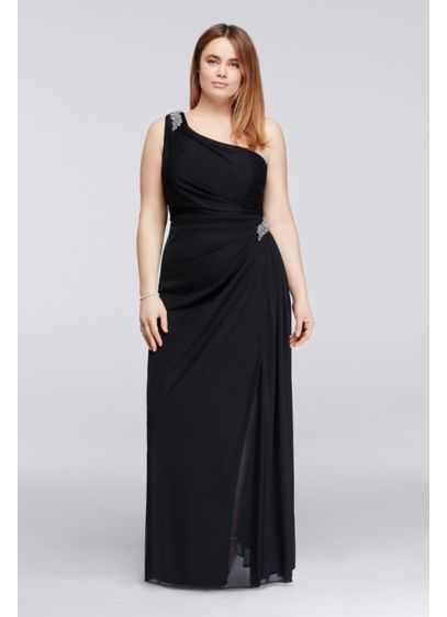 Long Sheath One Shoulder Military Ball Dress - Alex Evenings