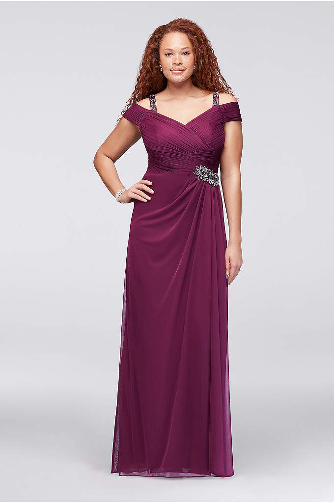 Cold-Shoulder Beaded Mesh Plus Size Dress - This cold-shoulder plus-size dress is flatteringly pleated at