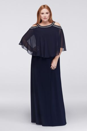 Cold Shoulder Capelet Plus Size Dress with Beading | David\'s Bridal