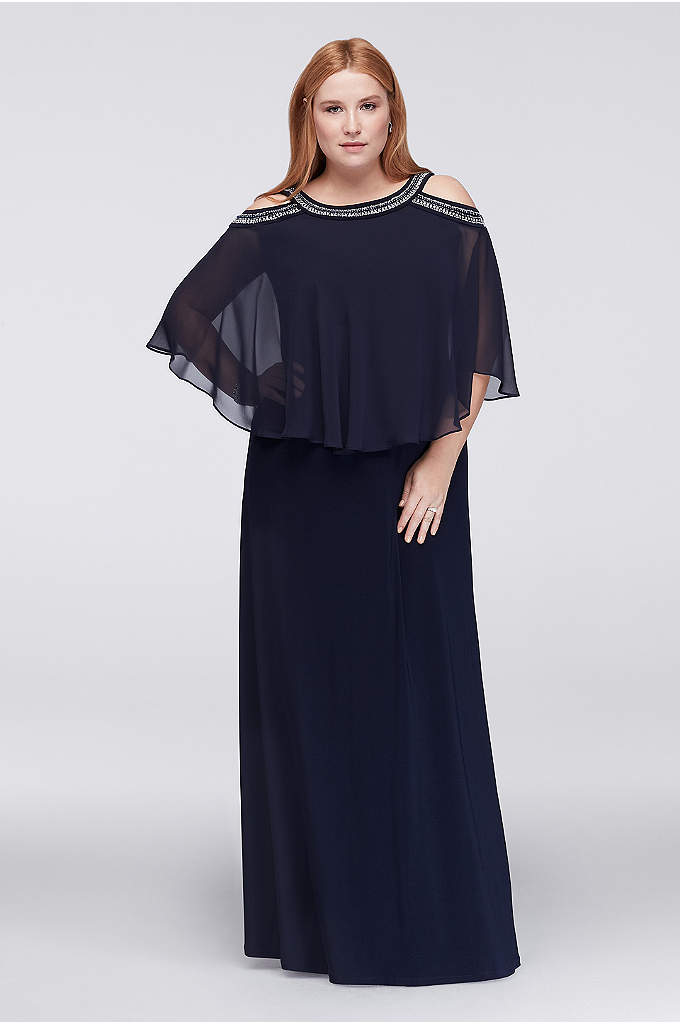 Cold Shoulder Capelet Plus Size Dress with Beading - Rows of beading encircle the neck and open