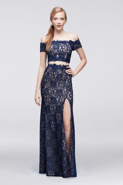 offtheshoulder lace twopiece dress davids bridal