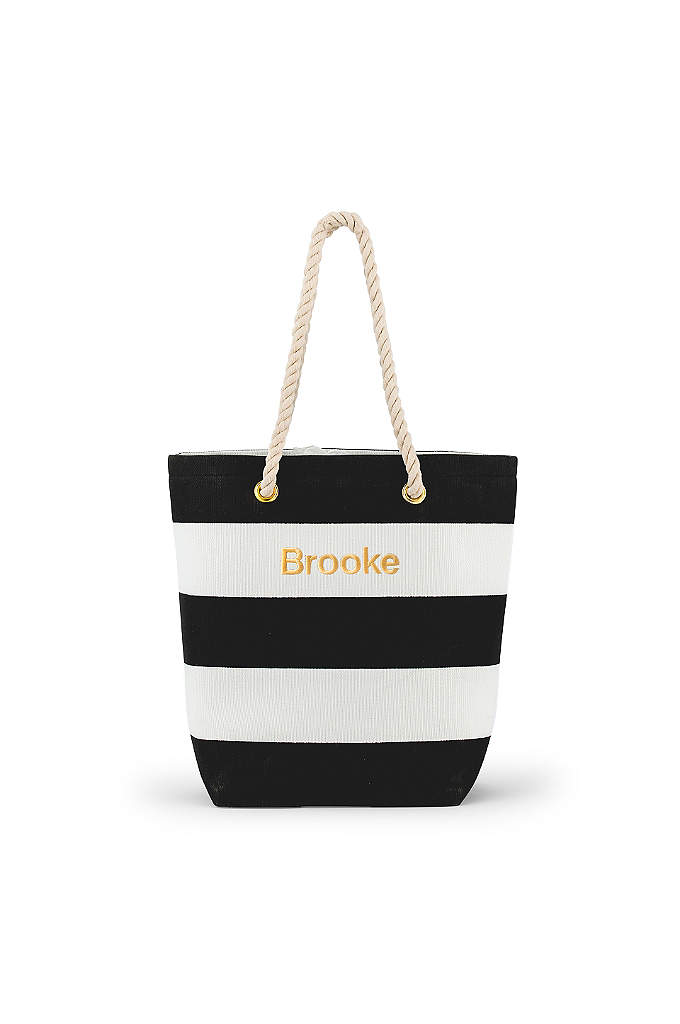 Personalized Bliss Striped Tote - Stylish and practical, the Personalized Bliss Striped Tote