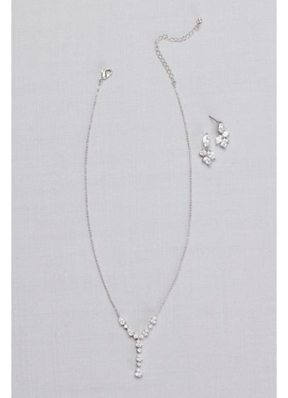 Cubic Zirconia Clusters Y-Necklace and Earring Set - Wedding Accessories