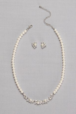 Pearl And Cubic Zirconia Necklace And Earring Set David