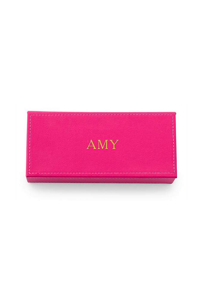 Personalized Name Vegan Leather Jewelry Box - Give your bridesmaids a Personalized Name Vegan Leather