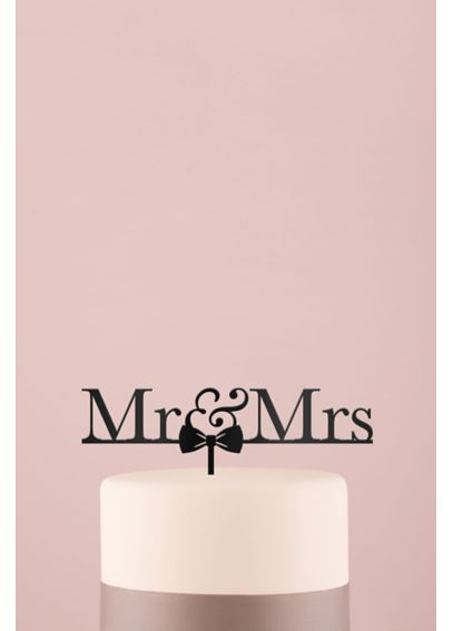 Mr and Mrs Bow Tie Acrylic Cake Topper 4462
