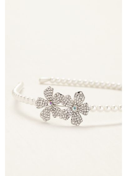 Flower Girl Rhinestone Flower and Pearl Headband - Wedding Accessories