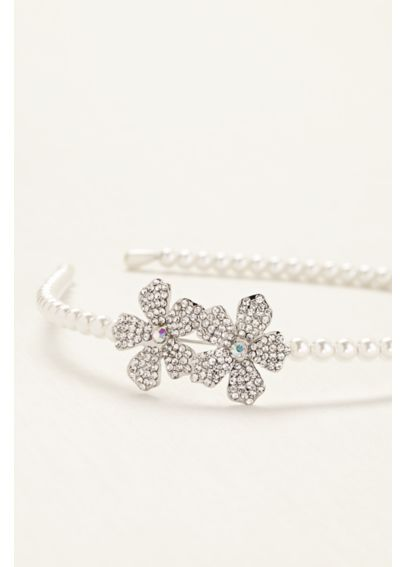 Flower Girl Rhinestone Flower and Pearl Headband 449451
