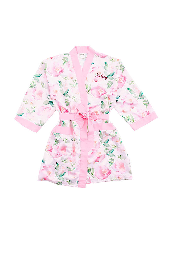 Personalized Watercolor Floral Silky Kimono Robe - Wrap your bridal party in this gorgeous, silky,