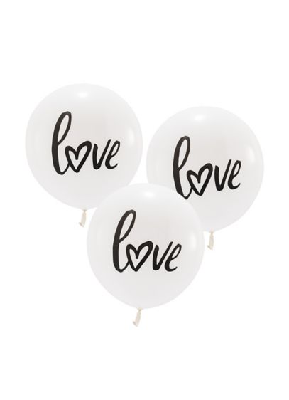 17 Inch White Round Love Balloons Set of 3 - Wedding Gifts & Decorations