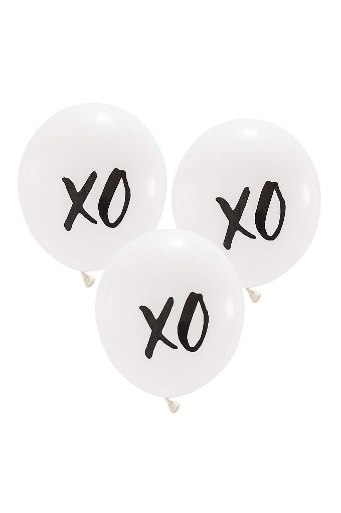 17 Inch White Round XO Balloons Set of - These 17