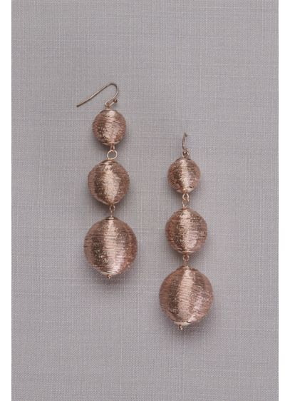 Metallic Thread-Wrapped Orb Drop Earrings - Wedding Accessories