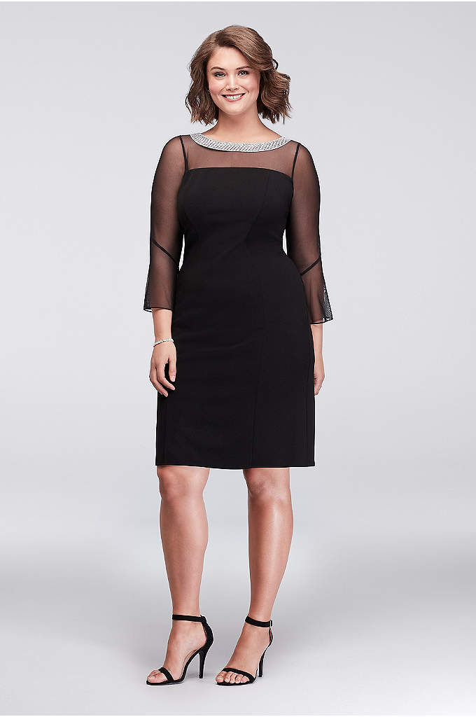 Beaded Collar Plus Size Short Sheath Dress - No necklace required when wearing this stunning crystal-collared