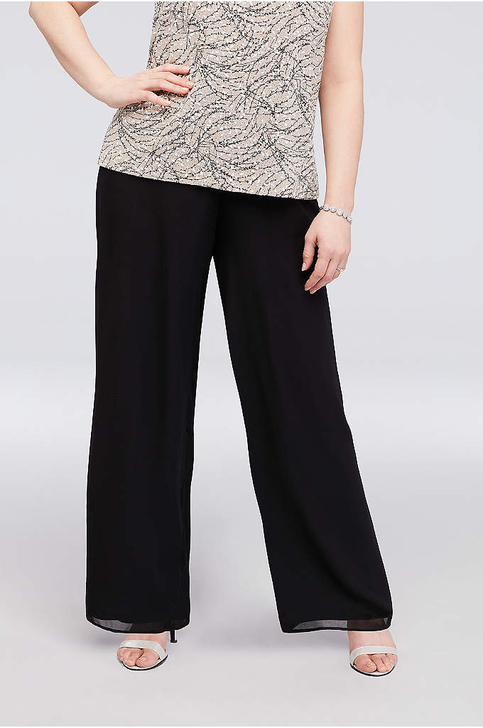 Chiffon Straight-Leg Plus Size Pants - A perfect pair of straight-leg pants for the