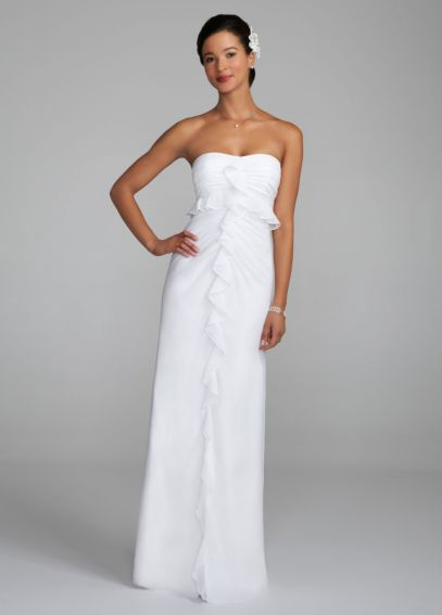 Strapless Chiffon Dress with Ruffle Detail 460849