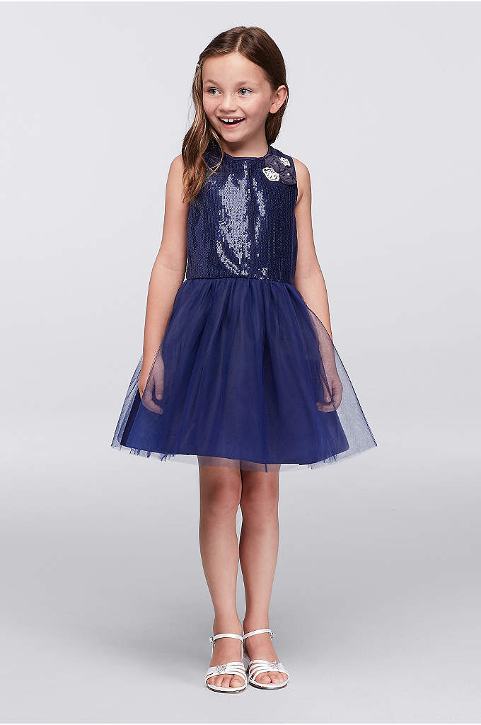 Sequin and Tulle Party Dress with Flower Applique