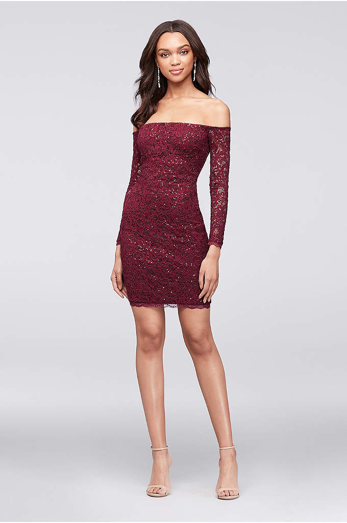 Off-The-Shoulder Long Sleeve Lace Sheath Dress - The off-the-shoulder trend turns a classic long-sleeve lace