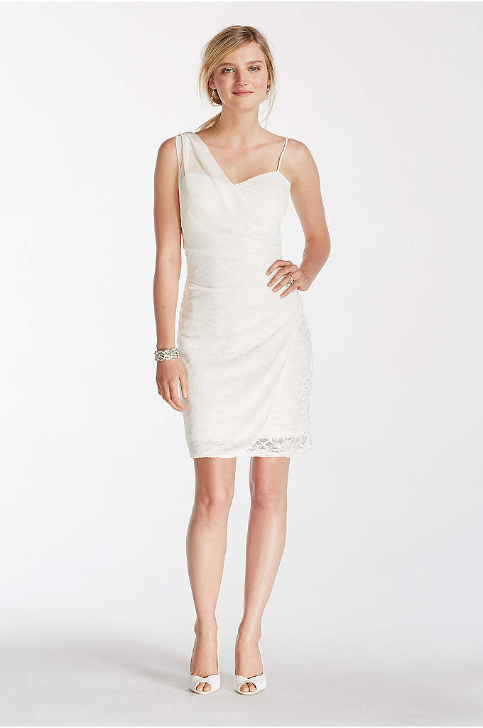 Short Lace Dress with Sheer Mesh Overlay - Chic and modern, all eyes will be on