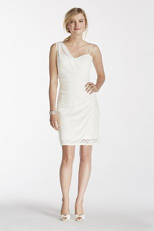 Short Lace Dress with Sheer Mesh Overlay