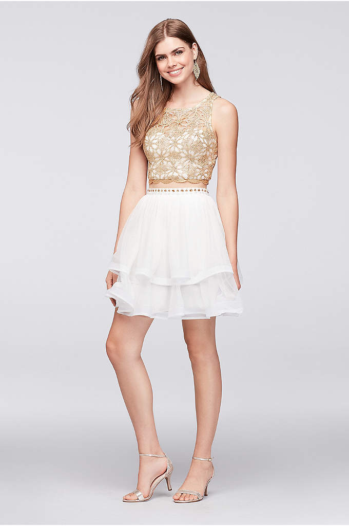 Embroidered Crop Top and Tiered Mesh Skirt Set - Shimmering metallic gold covers a sweetheart crop top