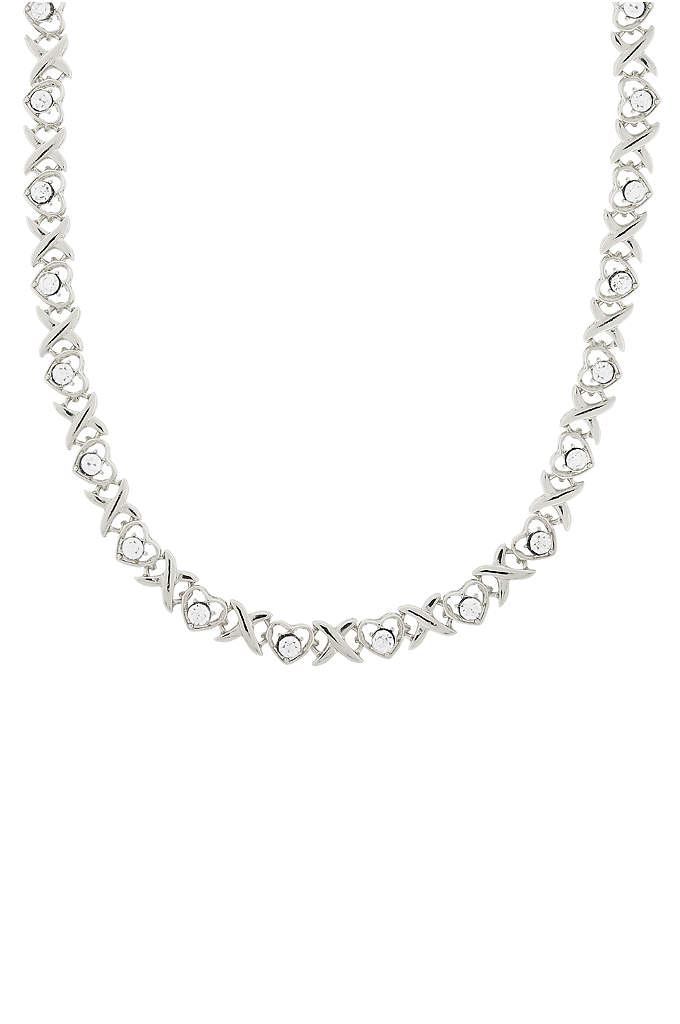 Crystal Heart Link Collar Necklace - Add a touch of sparkle with this stunning