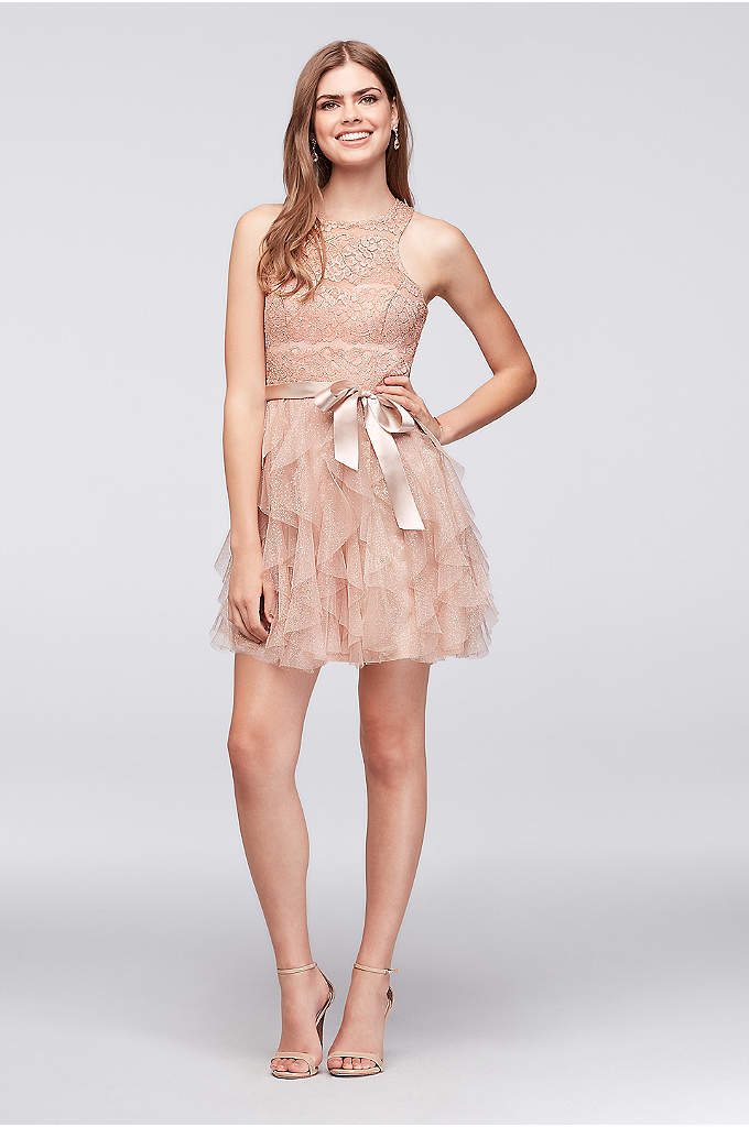 Tiered Glitter Mesh Ruffle Dress with Lace Bodice - A fairytale come true, this sweet lace and