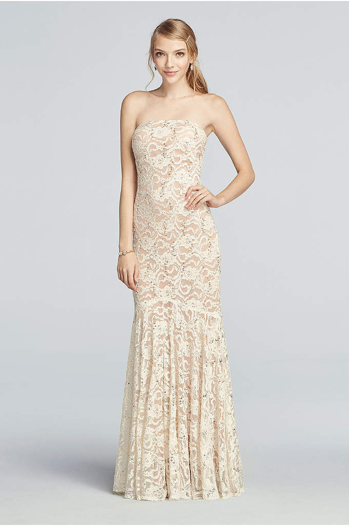 Strapless All Over Sequin Lace Prom Dress