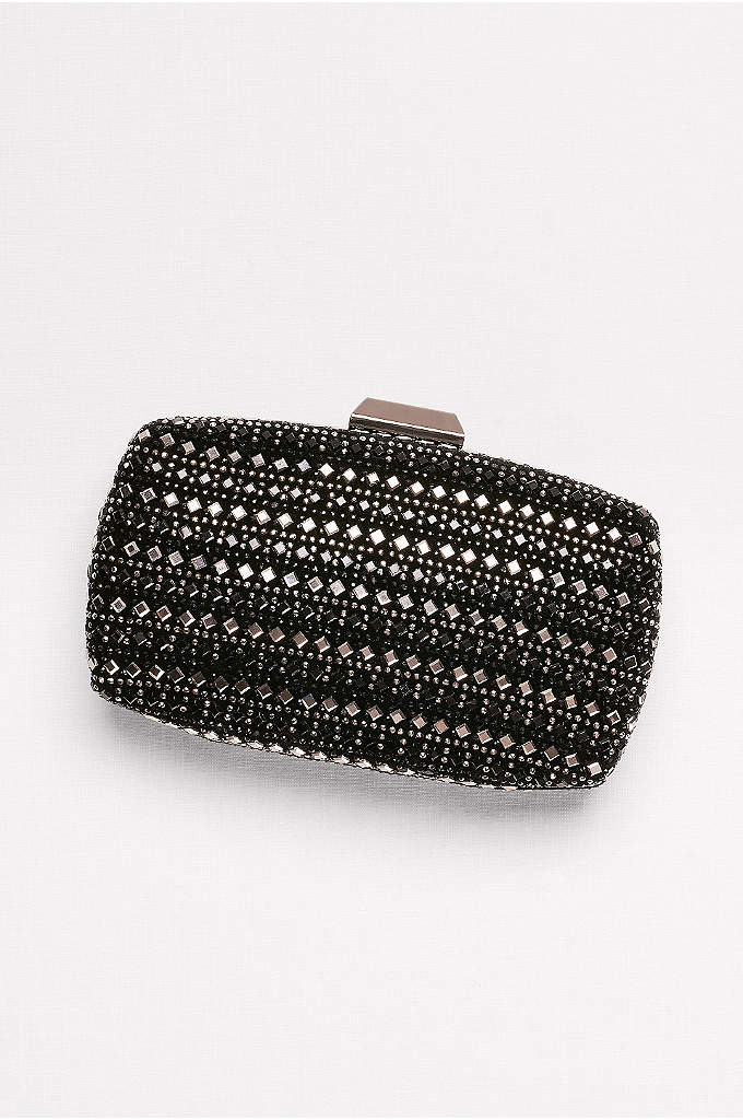 Mirror-Embellished Minaudiere - Fastened with a bezeled gem clasp, this hard-sided