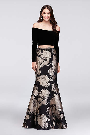 Velvet Crop Top and Brocade Mermaid Skirt Set
