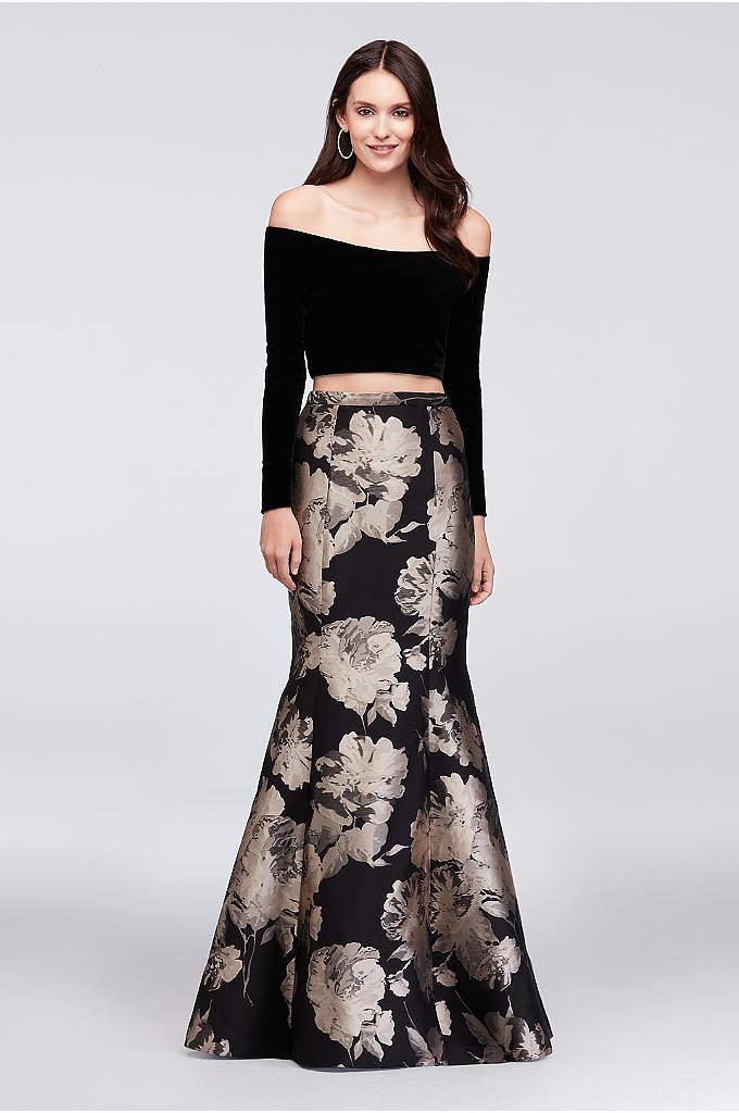 Velvet Crop Top and Brocade Mermaid Skirt Set - The crop top trend for the new season,