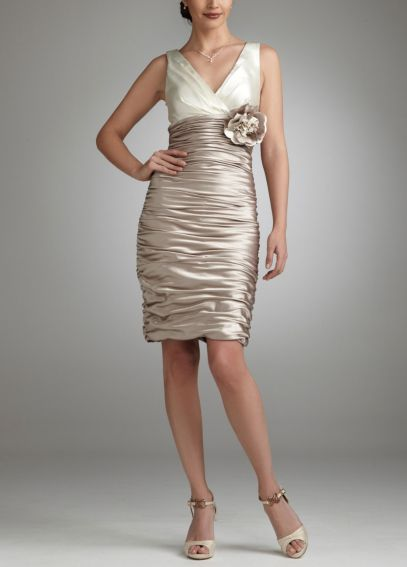 Two Toned All Over Ruched Stretch Satin Dress  48859D